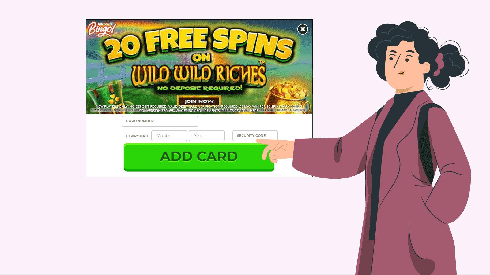 Enter your card details at registration